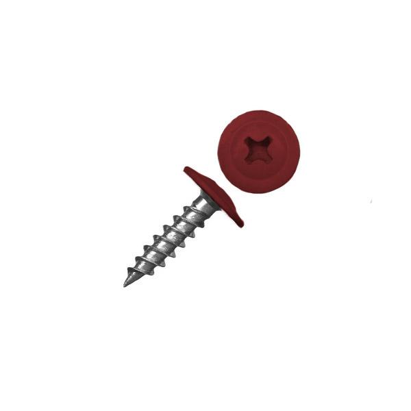 Саморез с прессшайбой острый красный (RAL 3011)